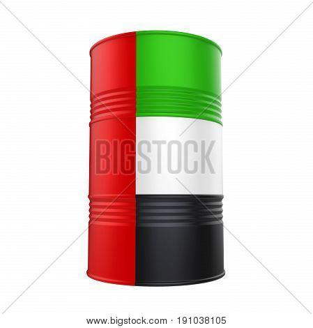 United Arab Emirates Flag Oil Barrel isolated on white background. 3D render