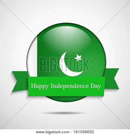 illustration of button in Pakistan Flag background with Happy Independence Day text on the occasion of Pakistan Independence day