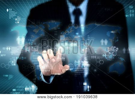 Businessman accessing internet information on virtual screen