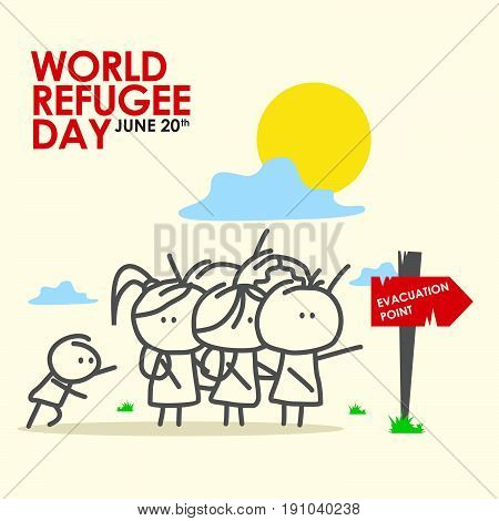 World refugee day. Expatriates in Syrian garments. refugee stamp on people.