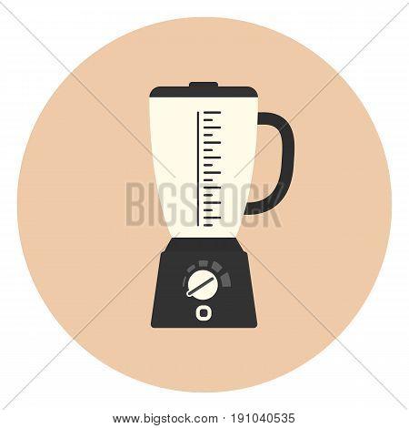 Flat Blender Icon, Kitchen Mixer Symbol, Appliance