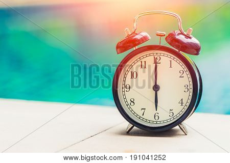 6 O'clock Retro Clock At The Swimming Pool Outdoor Holiday Time Concept.