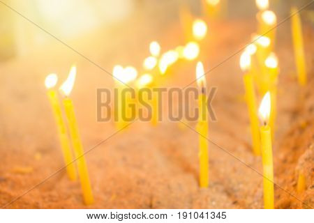 Blur Thai Candle For Background, Pray Commemorate For Thailand Concept.