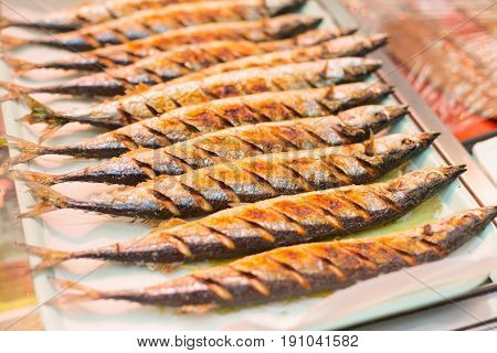 grilled mackerel or Saba fish grill sale in Japan. poster