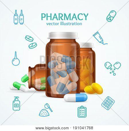 Pharmacy Concept with Pills Capsules in Medical Glass Bottle for Drugstore Business. Vector illustration