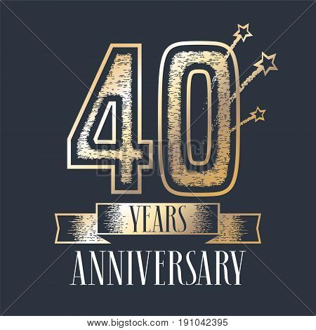 40 years anniversary vector icon logo. Graphic design element with ribbon and golden color and grunge texture number for 40th anniversary ceremony