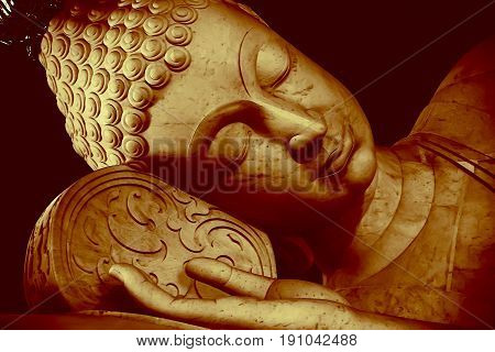 Most Beautiful Colored 3D Illustration Thai Style Sleeping Buddha Face Painting Art Effect Vintage C