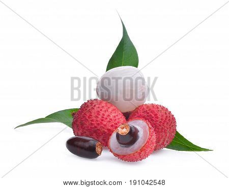 lychee with leaves isolated on white background