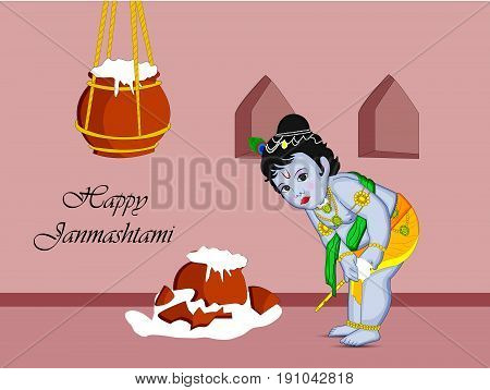illustration of Hindu God Krishna and pots of butter with Happy Janamashtami on the occasion of hindu festival Janamashtami