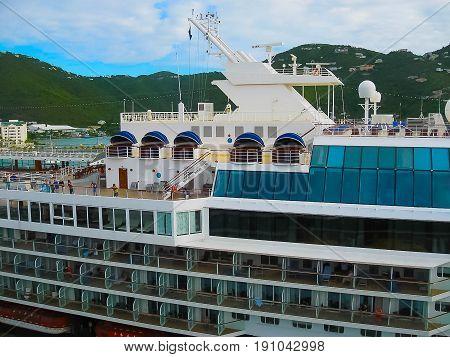Road Town, Tortola, British Virgin Islands - February 06, 2013: Cruise ship Mein Schiff 1 docked in port Caribbean at Road Town, Tortola, British Virgin Islands on February 06, 2013