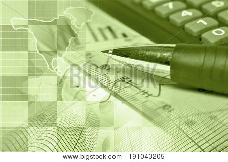 Financial background in sepia with map calculator graph and pen.