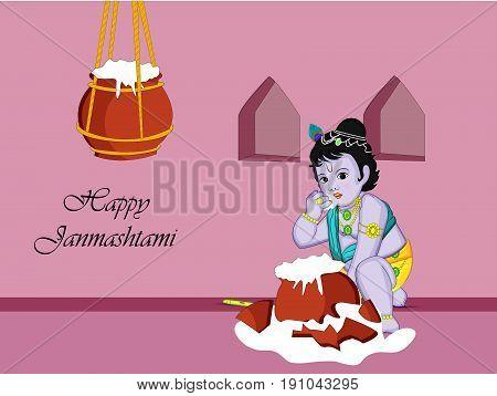 illustration of hindu god krishna and pots of butter with Happy janamashtami text on the occasion of hindu festival Janamashtami