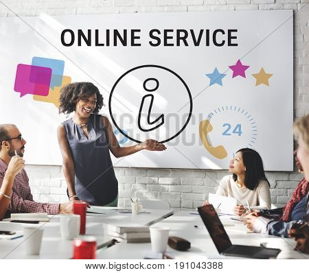Group of people with illustration of contact us online customer services