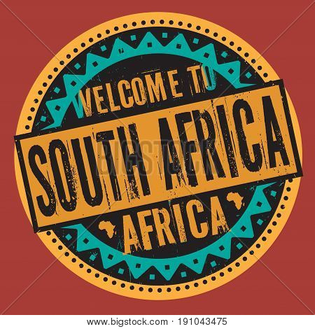 Grunge rubber stamp with the text Welcome to South Africa Africa written inside the stamp