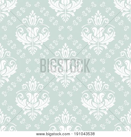 Damask classic light blue and white pattern. Seamless abstract background with repeating elements. Orient background