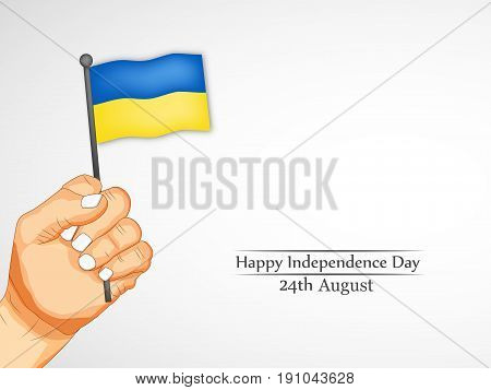illustration of a hand holding  Ukraine's Flag with Happy Independence Day 24th August text on the occasion of Ukraine Independence dayillustration of Happy Independence day text on Pakistan map background on the occasion of Pakistan independence day