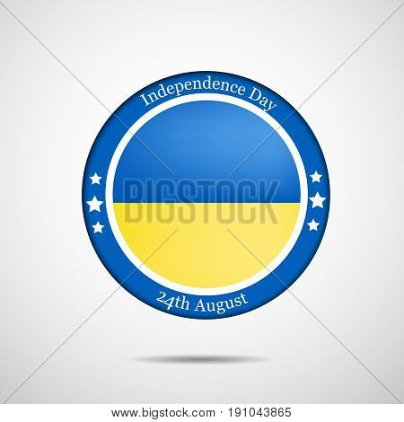 illustration of a stamp in  Ukraine's Flag background with Independence Day 24th August text on the occasion of Ukraine Independence day