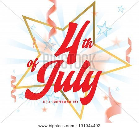 4th of July, United Stated independence day greeting. Fourth of July design with text. Usable as greeting card, banner, background.