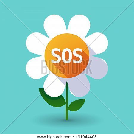 Long Shadow Flower With    The Text Sos