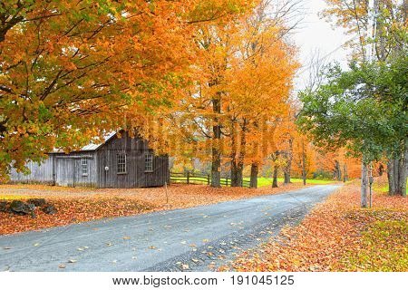 Scenic rural Vermont landscape in autumn time