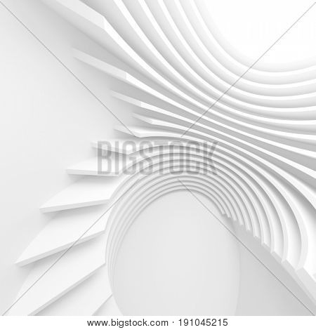 Modern Architecture Background. White Circular Tunnel Building, 3d Illustration of Light Futuristic Hall. Minimal 3d Rendering