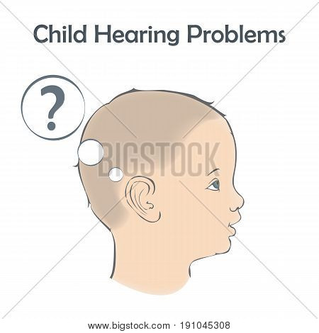 Hearing problems, loss, deafness. Little boy, child listening, question. Vector illustration.
