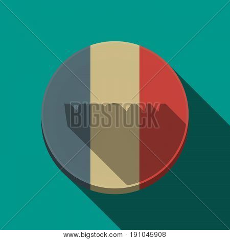 Long Shadow  Round Button With    The Text Reggae