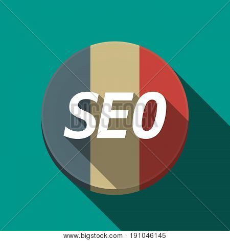 Long Shadow  Round Button With    The Text Seo