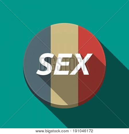 Long Shadow  Round Button With    The Text Sex