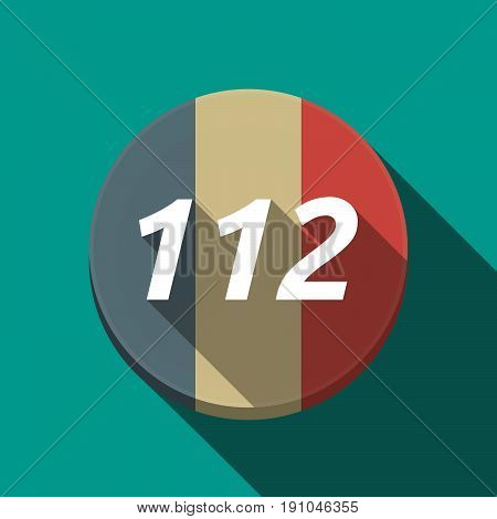 Long Shadow  Round Button With    The Text 112