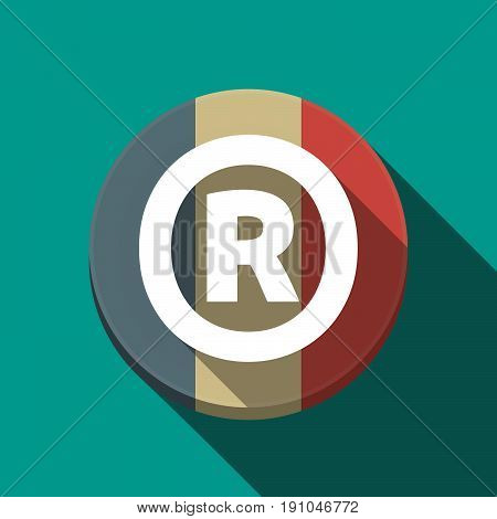 Long Shadow  Round Button With    The Registered Trademark Symbol