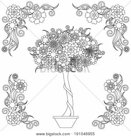 Anti stress blooming tree in the pot, flowering frame hand drawn vector illustration
