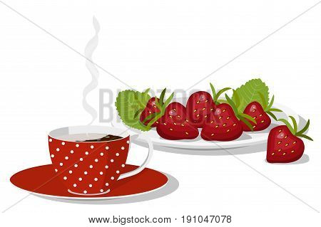 Summer breakfast, red spotted cup of hot coffee on a saucer, ripe strawberry on a plate, isolated on white background, vector illustration