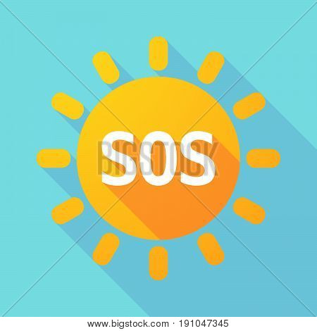 Long Shadow Sun With    The Text Sos