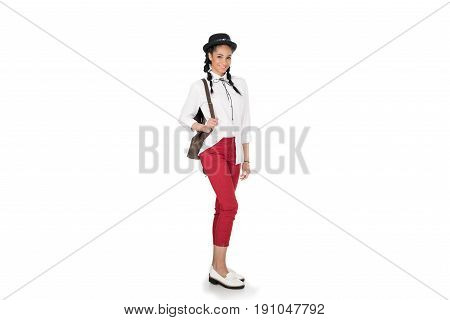 Full Length View Of Stylish Young Woman Standing With Leather Bag On Shoulder And Smiling At Camera