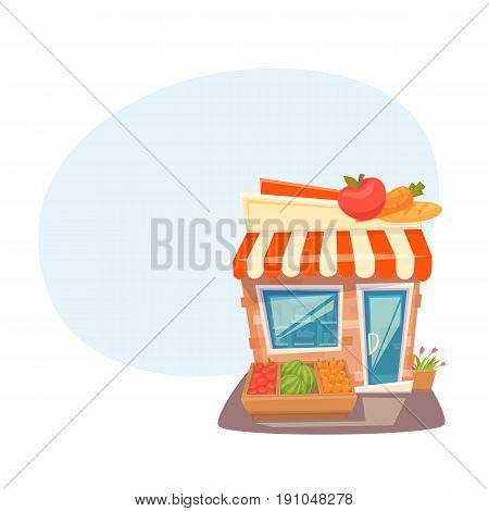 Grocery store front. Street local retail shop building. Organic fruit and vegetable kiosk facade. Cartoon vector illustration. Exterior.
