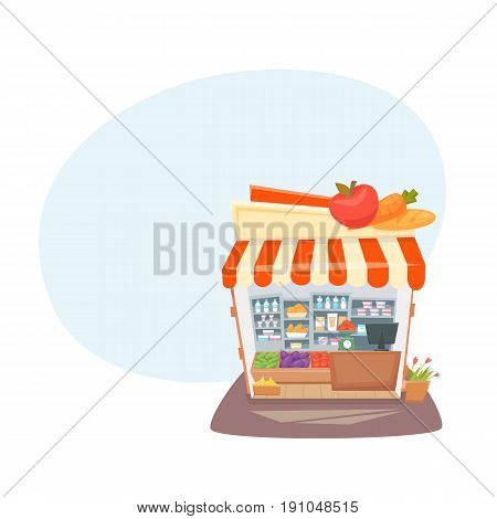 Grocery store interior. Street local retail shop building. Organic food, fruit and vegetable kiosk inside shelves and showcases.