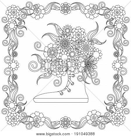 Anti stress flowers bouquet in the snickers, flowering frame hand drawn vector illustration