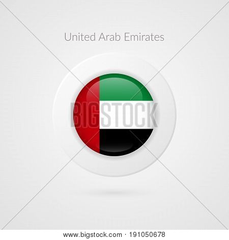 Vector United Arab Emirates flag sign. Circle isolated symbol. UAE illustration icon for marketing presentation project advertisement sport events travel vacation concept web design logo