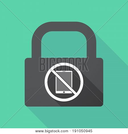 Long Shadow Lock With  A Tablet Pc  In A Not Allowed Signal