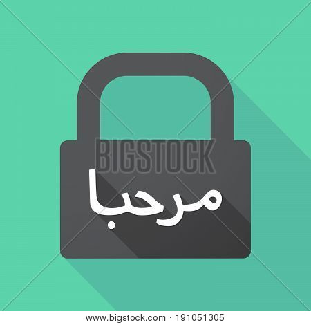 Long Shadow Lock With  The Text Hello In The Arab Language
