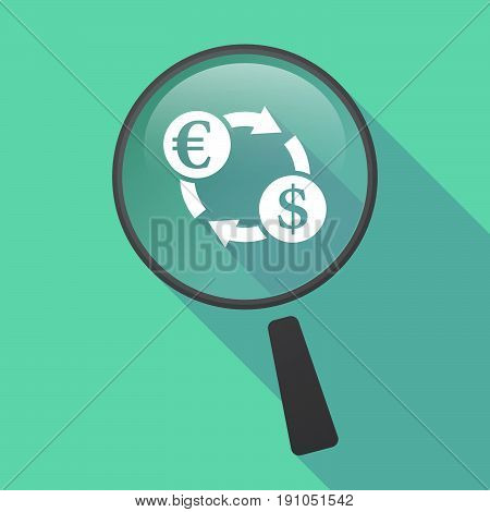 Long Shadow Loupe With  An Euro Dollar Exchange Sign