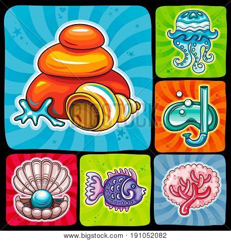 Vector swirl vacation icon or sticker set. Tropical fish seashell and rocks jellyfish diving mask coral reef elements and open pearl shell. Beach holiday party travel and summer sea and sun