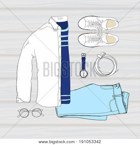 Vector illustration of colorful Hand drawn and doodle of top view, flat lay folded shirt with t-shirt, trousers, shoes, spectacles, clock, and belt. Mens set on wooden background. Template for brochure, journal, flayer with trend design.