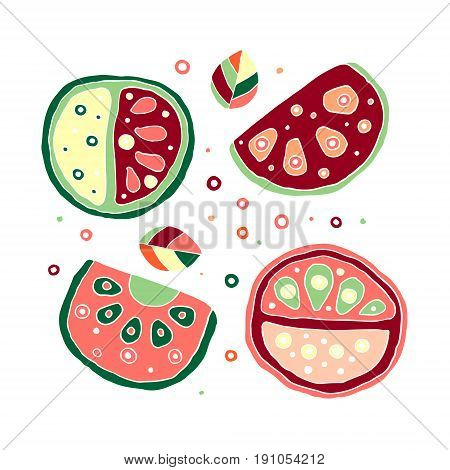 Set Of Vector Hand Drawn Childish Juicy, Fruits. Cute Childlike Watermelon With Leaves, Seeds, Drops