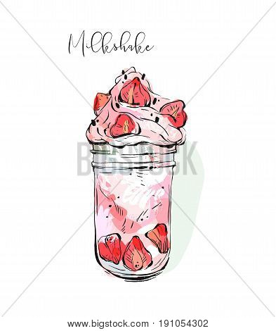 Hand drawn vector graphic abstract Monstershake Milkshake with strawberry and cream in glass jar isolated on white background with pastel colored freehand textures.
