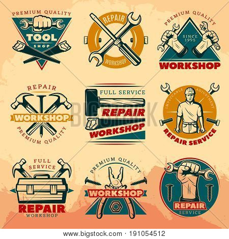 Isolated colored vintage repair workshop logo set with full service repair workshop premium quality tool shop descriptions vector illustration