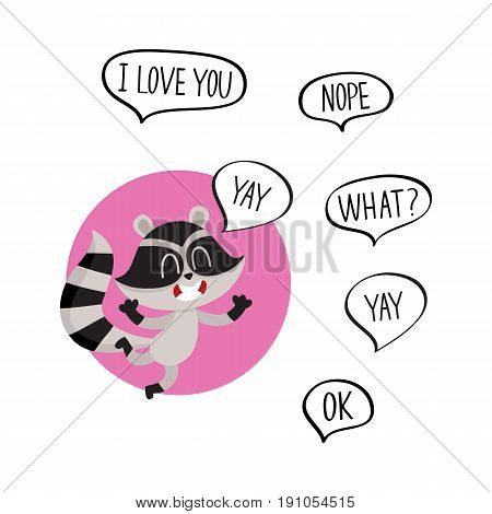 Cute raccoon character jumping from happiness with word Yay in speech bubble and additionally phrase, cartoon vector illustration isolated on white background. Sticker with happy little raccoon