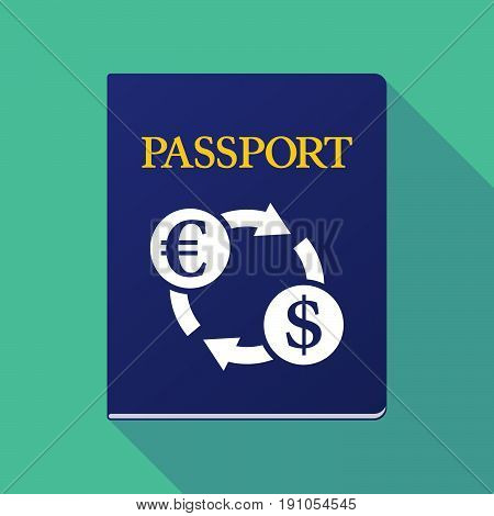 Long Shadow Passport With  An Euro Dollar Exchange Sign