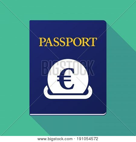 Long Shadow Passport With  An Euro Coin Entering In A Moneybox